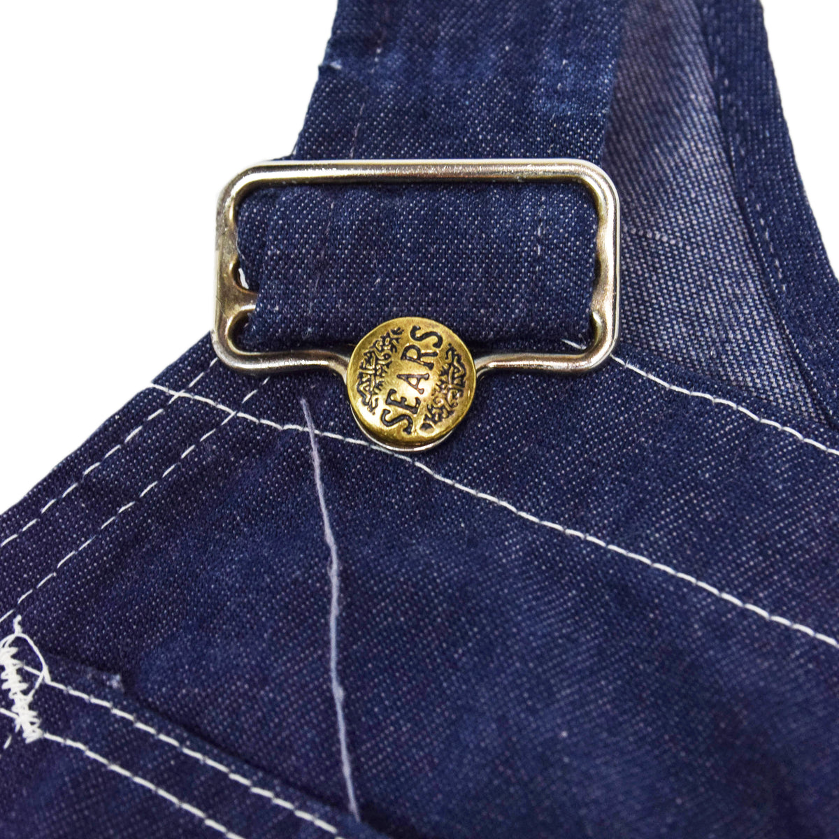 Vintage Sears Union Made USA Workwear Dungarees Blue Denim Overalls XS BUCKLE