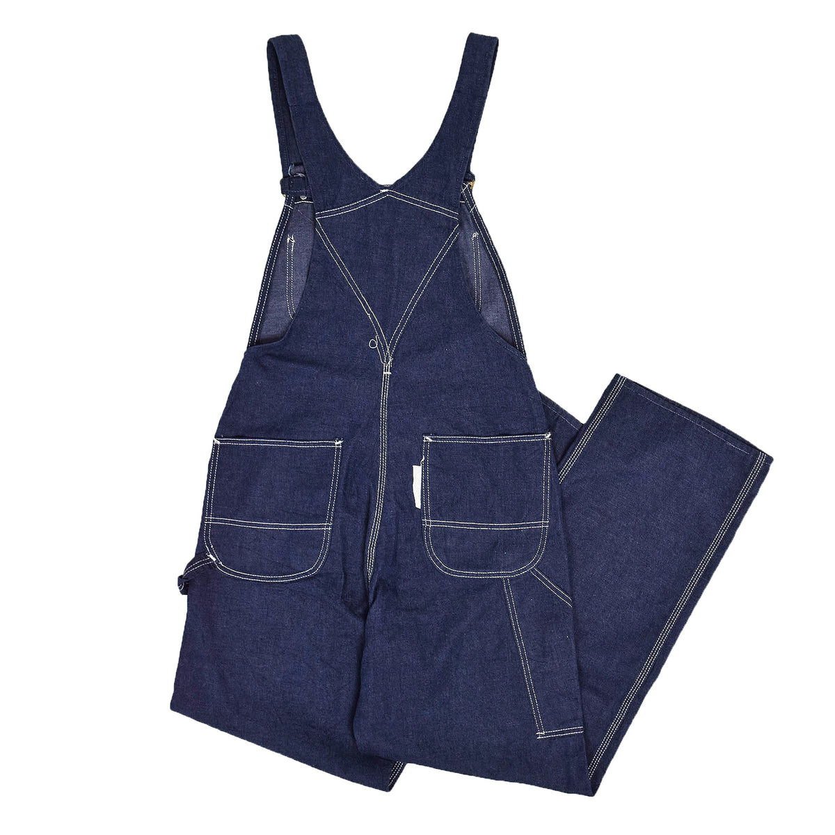 Vintage Sears Union Made USA Workwear Dungarees Blue Denim Overalls XS BACK
