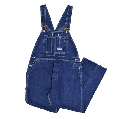 Vintage Big Smith Denim Work Dungarees Blue Bib Overalls Trousers M FRONT
