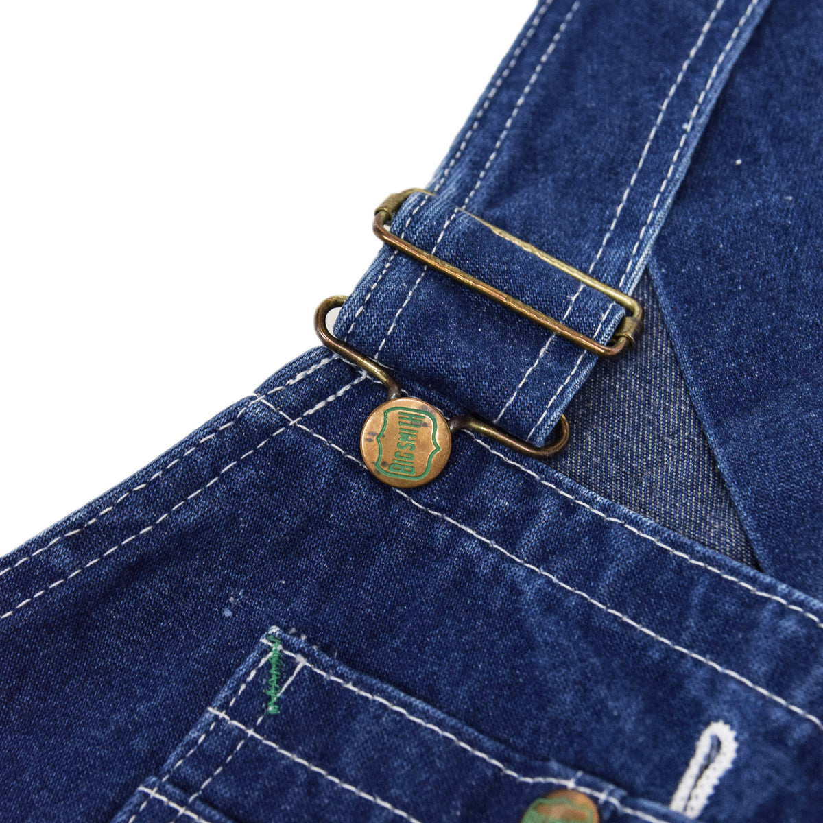 Vintage Big Smith Denim Work Dungarees Blue Bib Overalls Trousers M BUCKLE