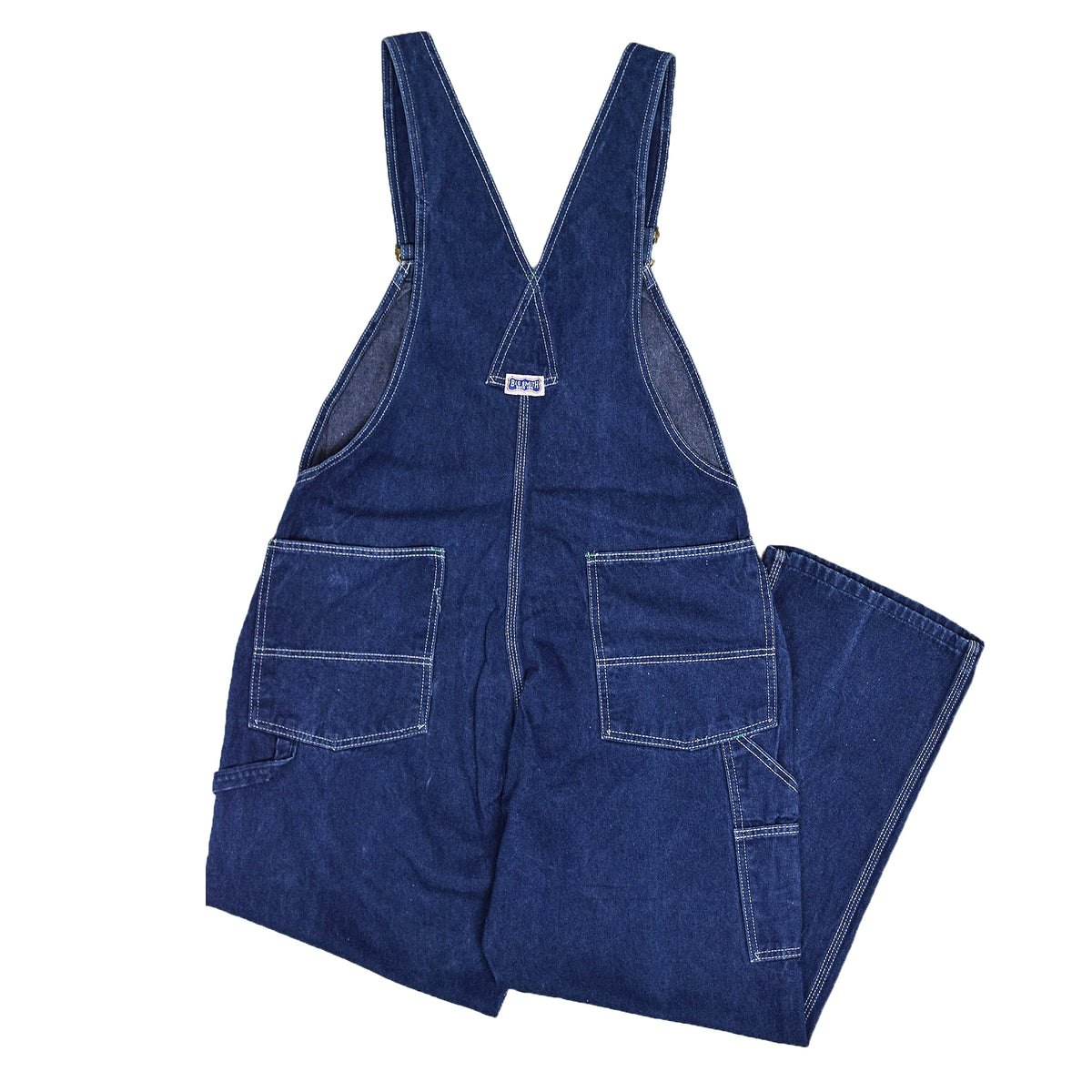Vintage Big Smith Denim Work Dungarees Blue Bib Overalls Trousers M BACK