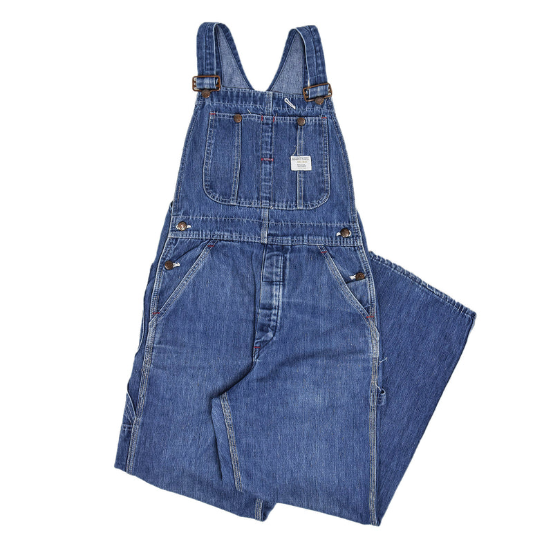 Vintage Big Mac Square Bak Denim Work Dungarees Blue Bib Overalls Trousers XS front