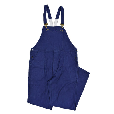 Vintage Distressed Blue Cotton French Style Workwear Dungarees Overalls L FRONT