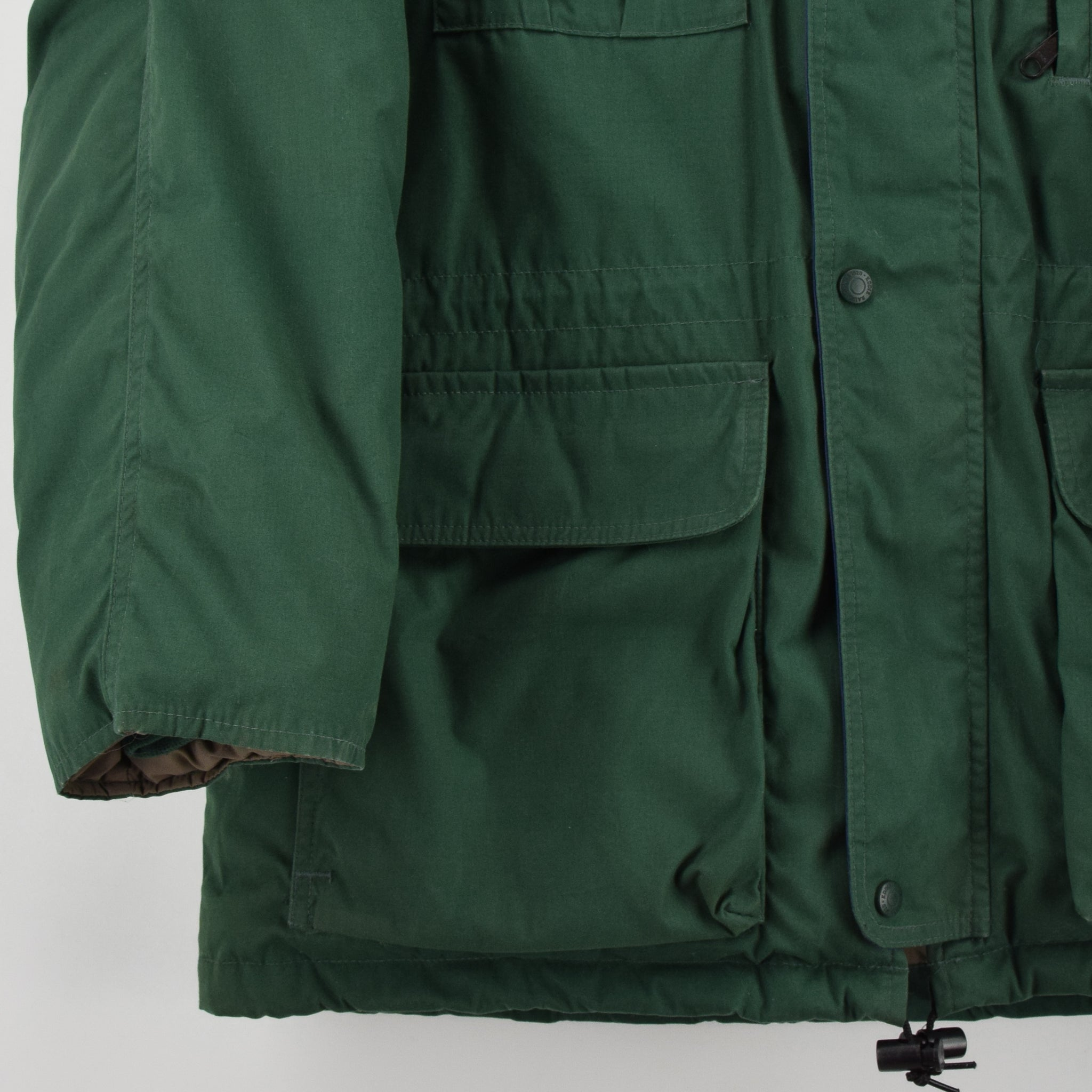 Vintage Eddie Bauer Ridgeline Goose Down Coat Mountain Parka Jacket USA Made L front hem