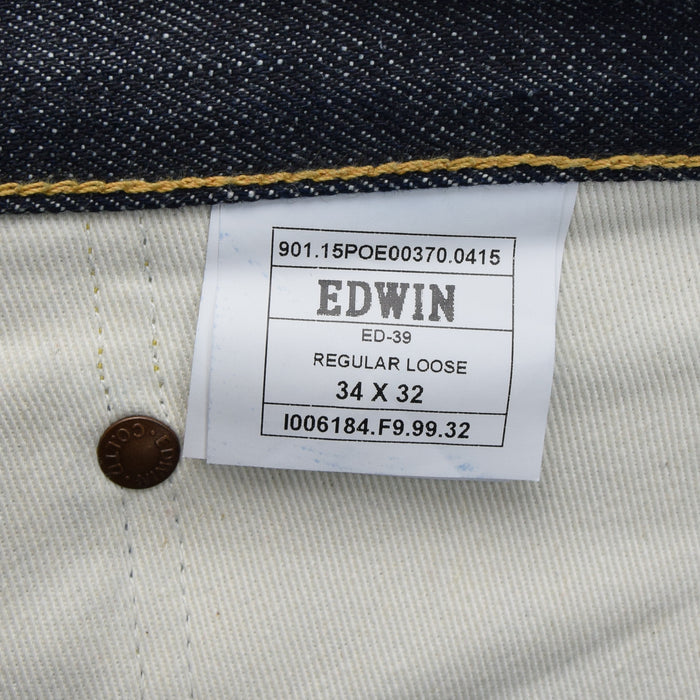 Edwin Selvedge ED-39 Japanese Denim Regular Loose Jeans 34 W 32 L label