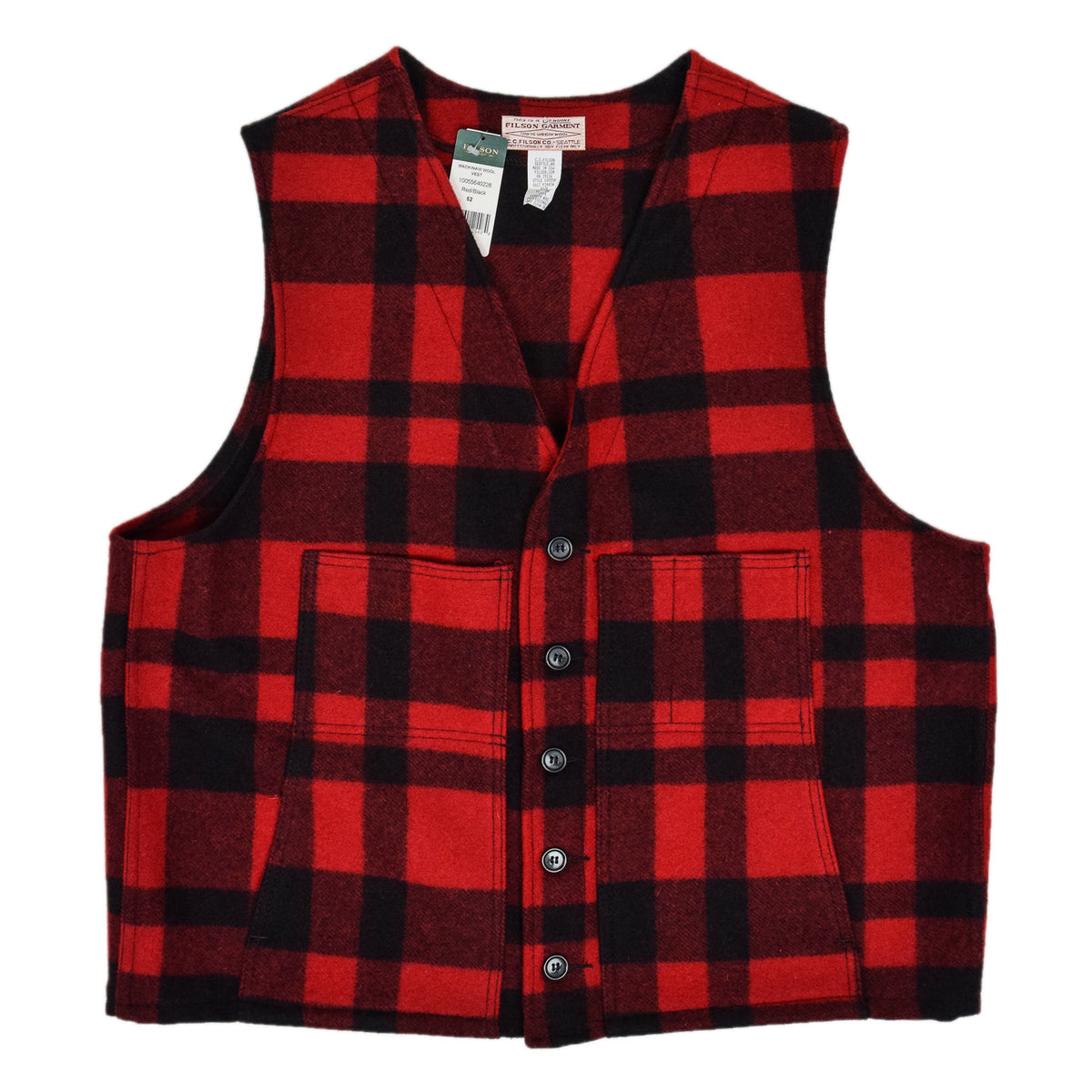 Filson Plaid Mackinaw Wool Hunting Cruiser Waistcoat Vest Made in USA XXL front