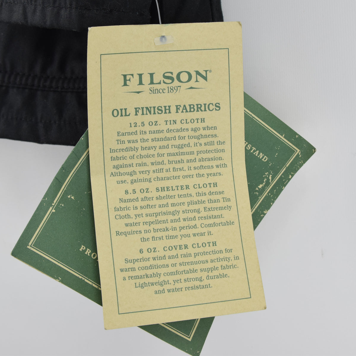 Filson Cover Cloth Mile Marker Coat Black Wax Cotton Jacket Made in USA M labels