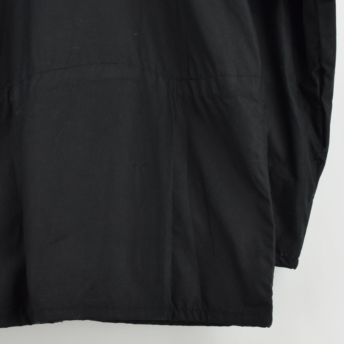 Filson Cover Cloth Mile Marker Coat Black Wax Cotton Jacket Made in USA M back hem