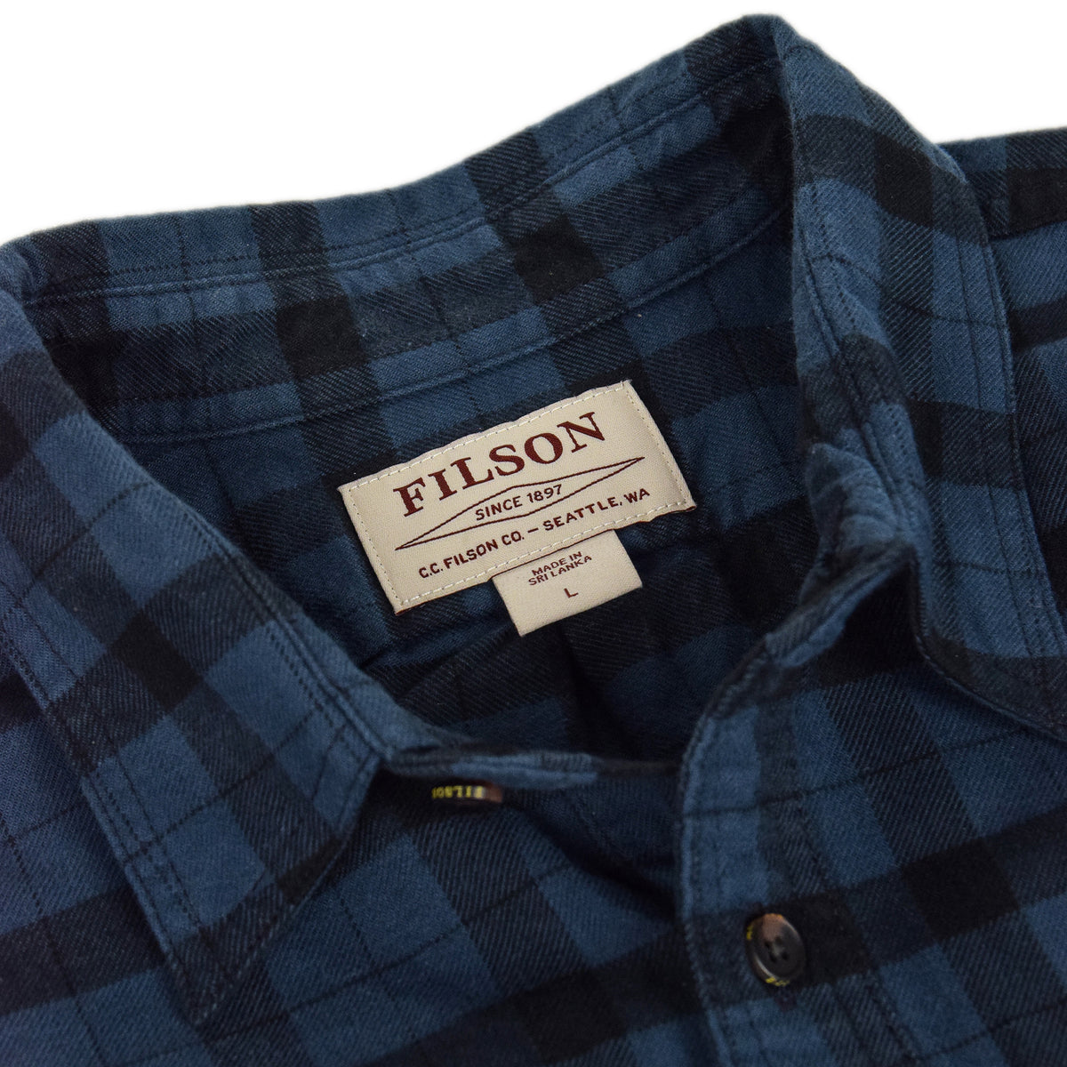 Filson Alaskan Guide Cotton Flannel Shirt Blue/Black Collar