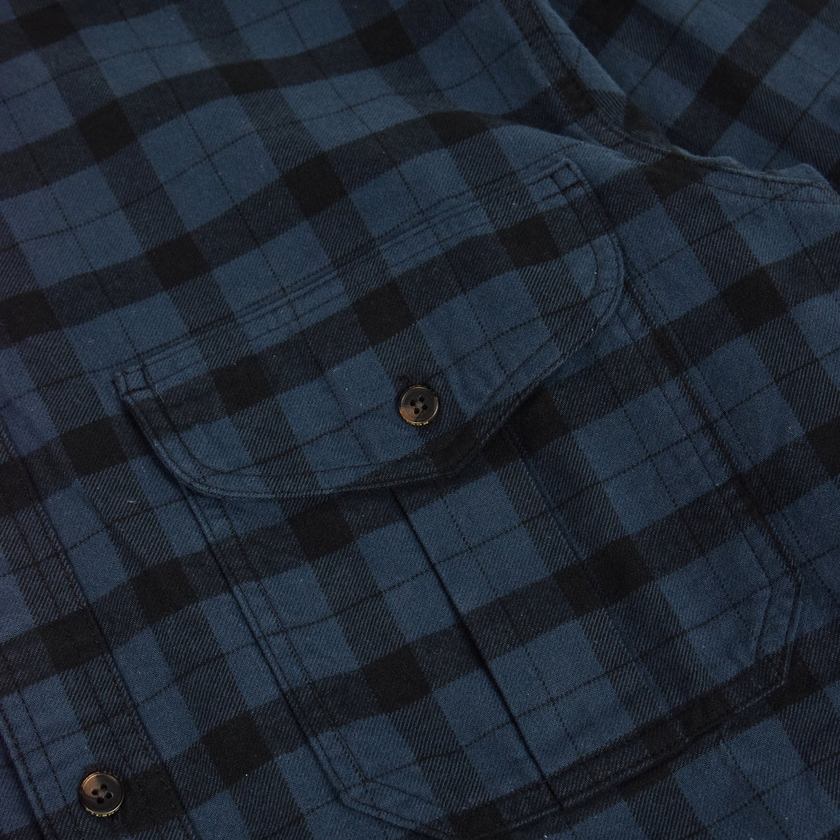 Filson Alaskan Guide Cotton Flannel Shirt Blue/Black Top Pocket