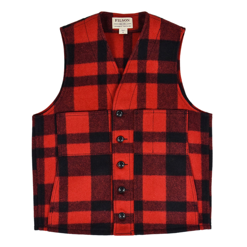 Filson Mackinaw Wool Vest Red Black Front