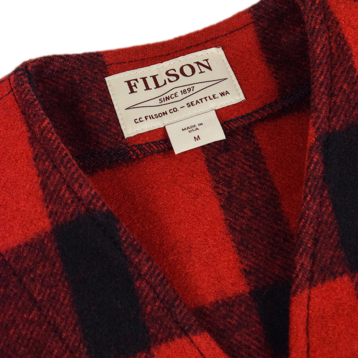 Filson Mackinaw Wool Vest Red Black Collar