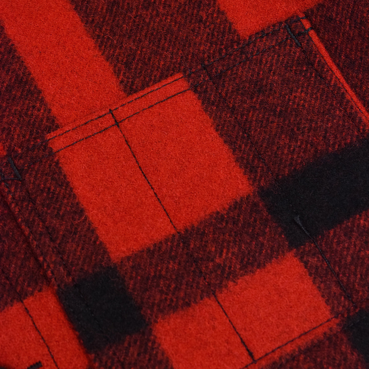 Filson Mackinaw Wool Vest Red Black Pocket Detail
