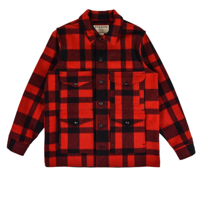 Filson Mackinaw Wool Cruiser Jacket Red Black Front