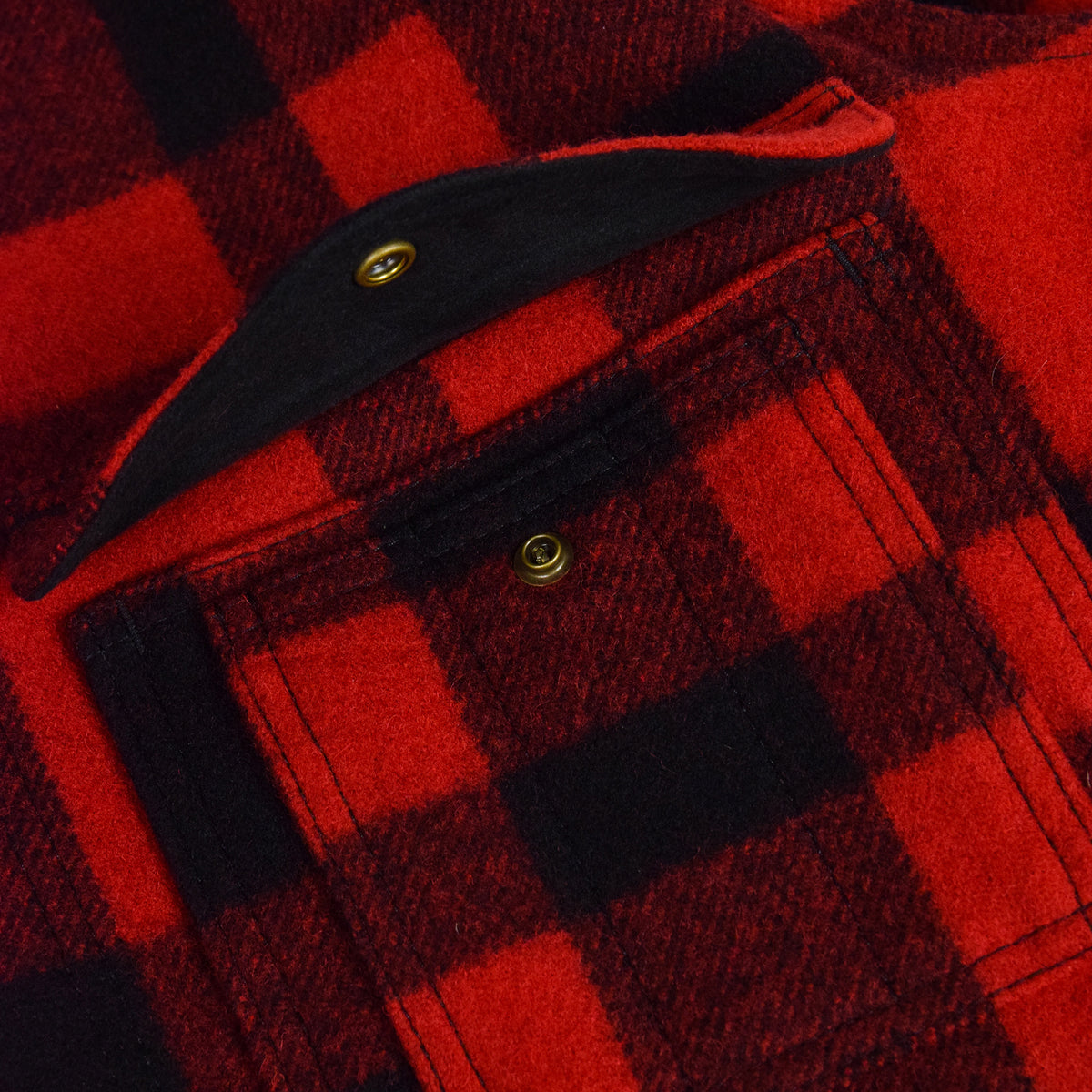 Filson Mackinaw Wool Cruiser Jacket Red Black Top Right Pocket Open
