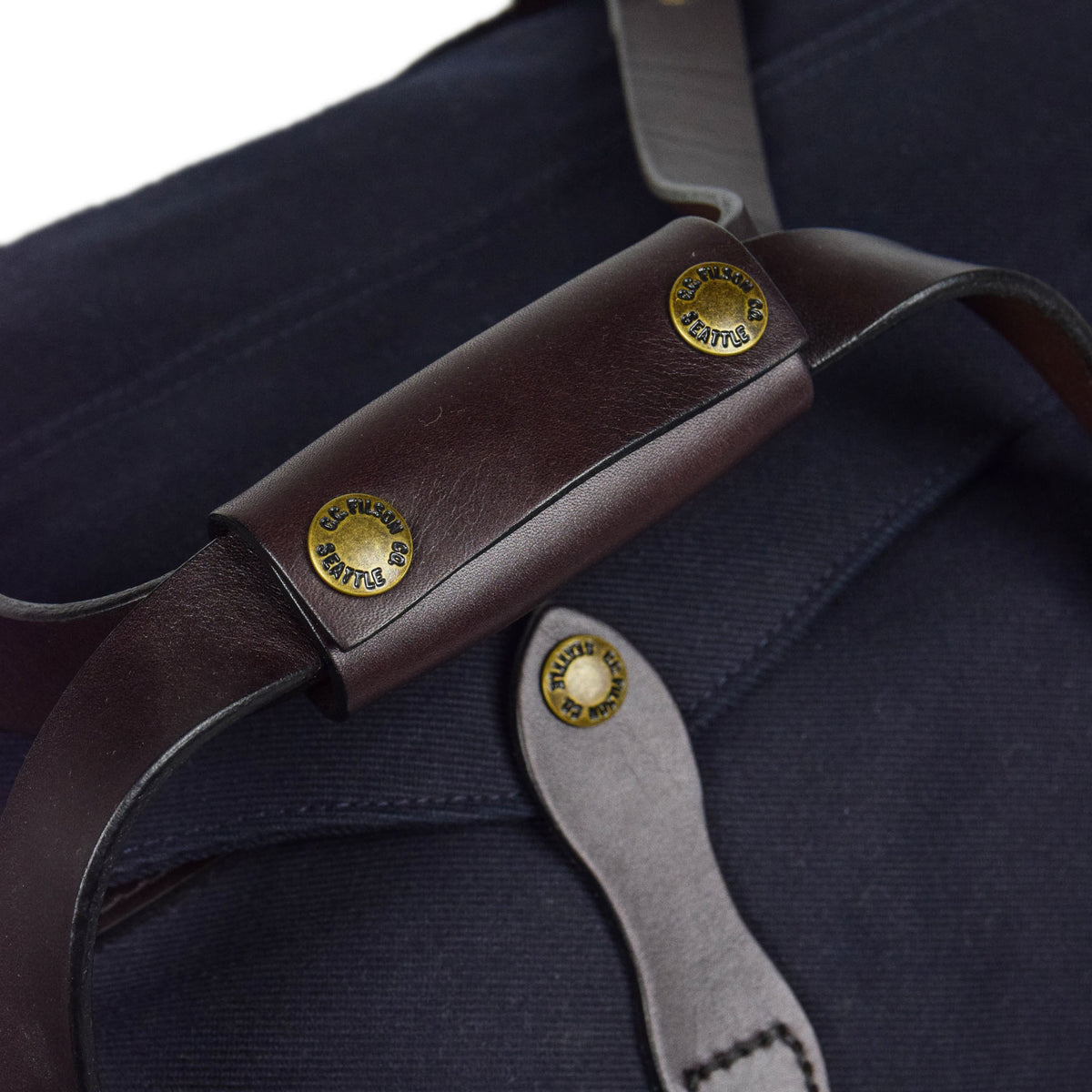 Filson Rugged Twill Carry-On Duffle Bag Navy Handle Detail
