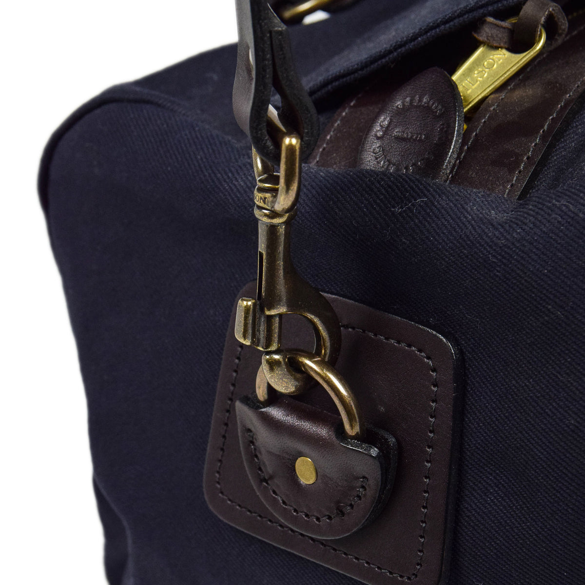 Filson Rugged Twill Carry-On Duffle Bag Navy Strap Attachment