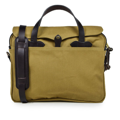 Filson Rugged Twill Original Briefcase Shoulder Bag Brass Tan Front