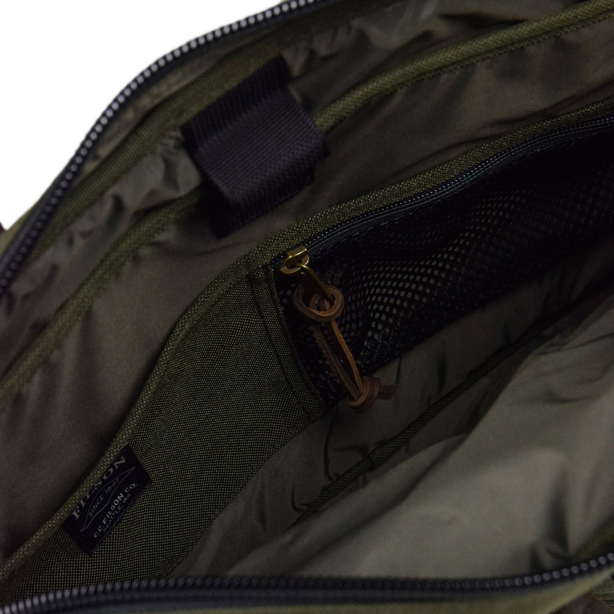Filson Dryden Briefcase Shoulder Bag Otter Green Inside Pockets