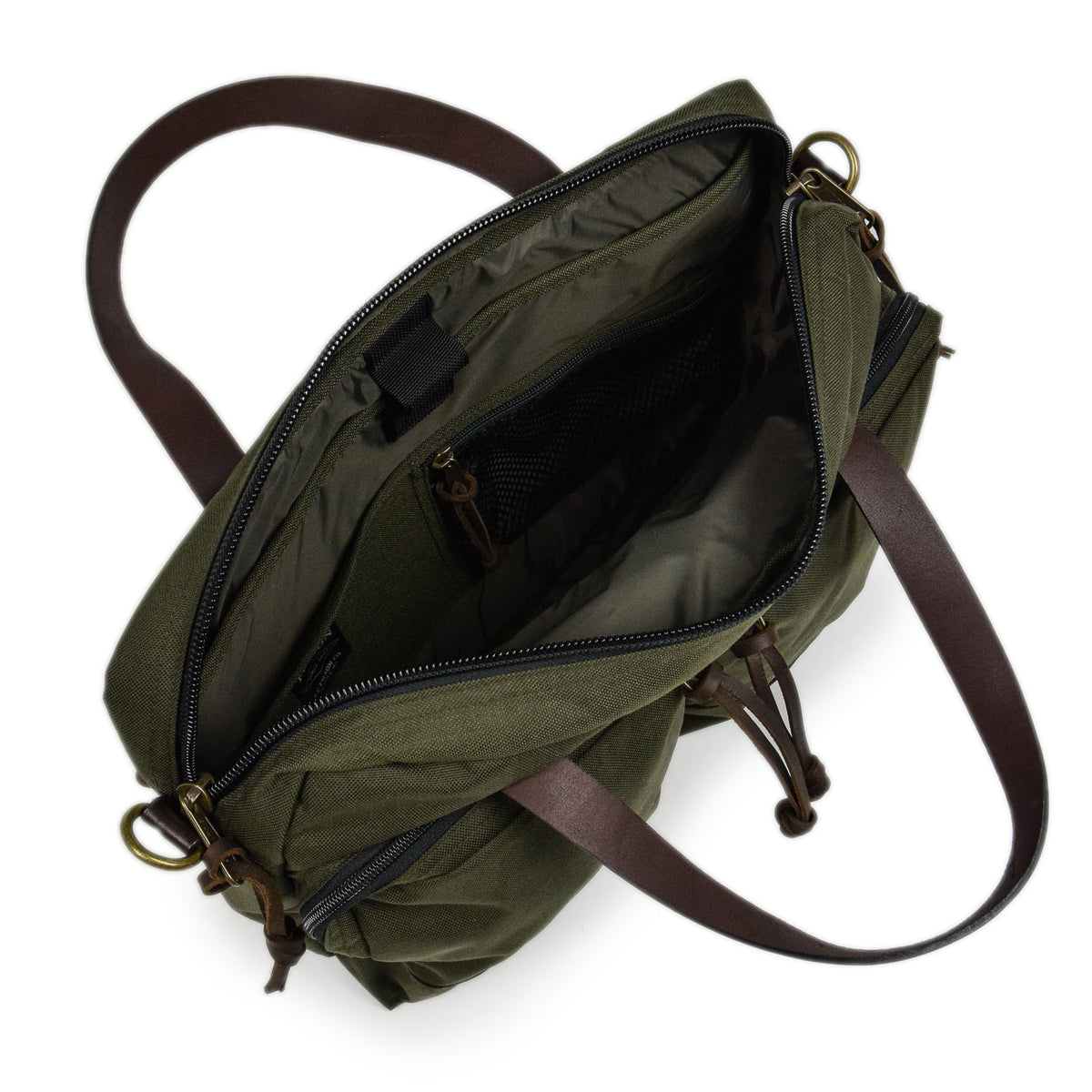 Filson Dryden Briefcase Shoulder Bag Otter Green Open Bag