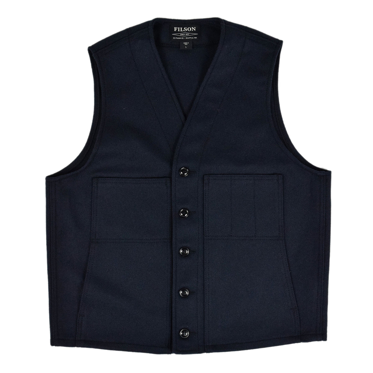 Filson Mackinaw Wool Vest Navy Front