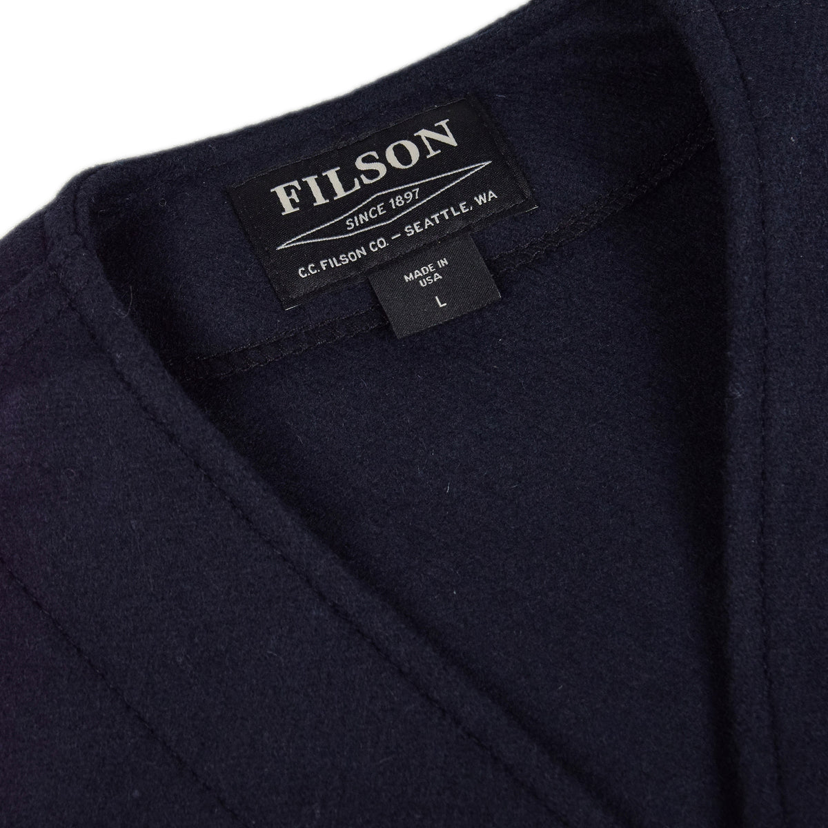 Filson Mackinaw Wool Vest Navy Collar