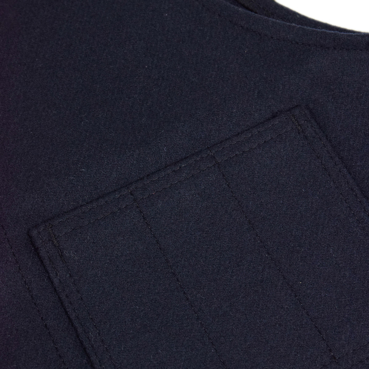 Filson Mackinaw Wool Vest Navy Pocket Detail