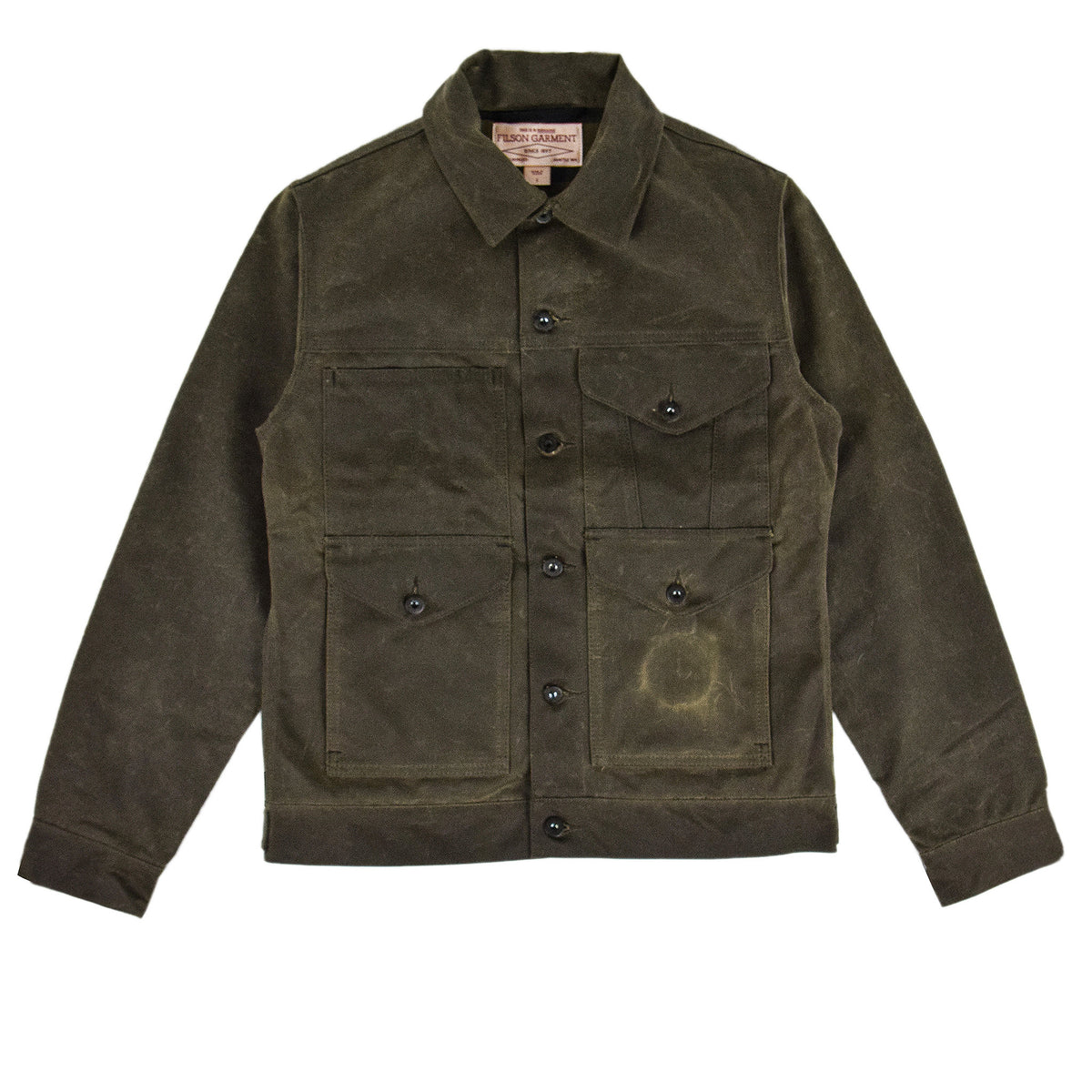 Filson Short Lined Tin Cloth Cruiser Jacket Brown Front