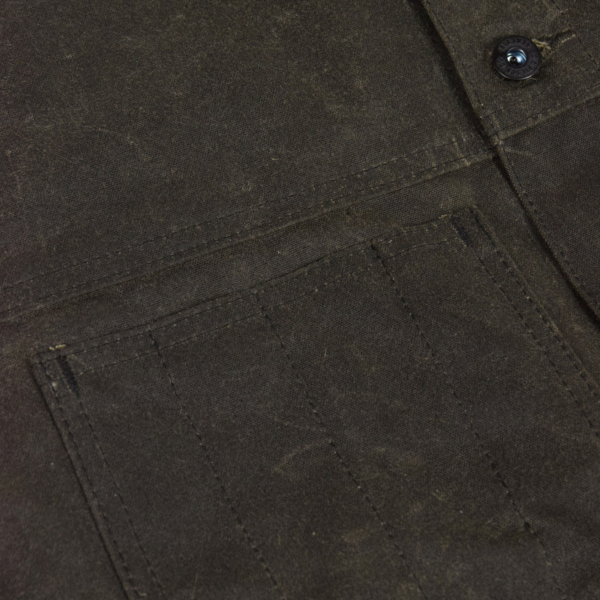 Filson Short Lined Tin Cloth Cruiser Jacket Brown Pocket Detail