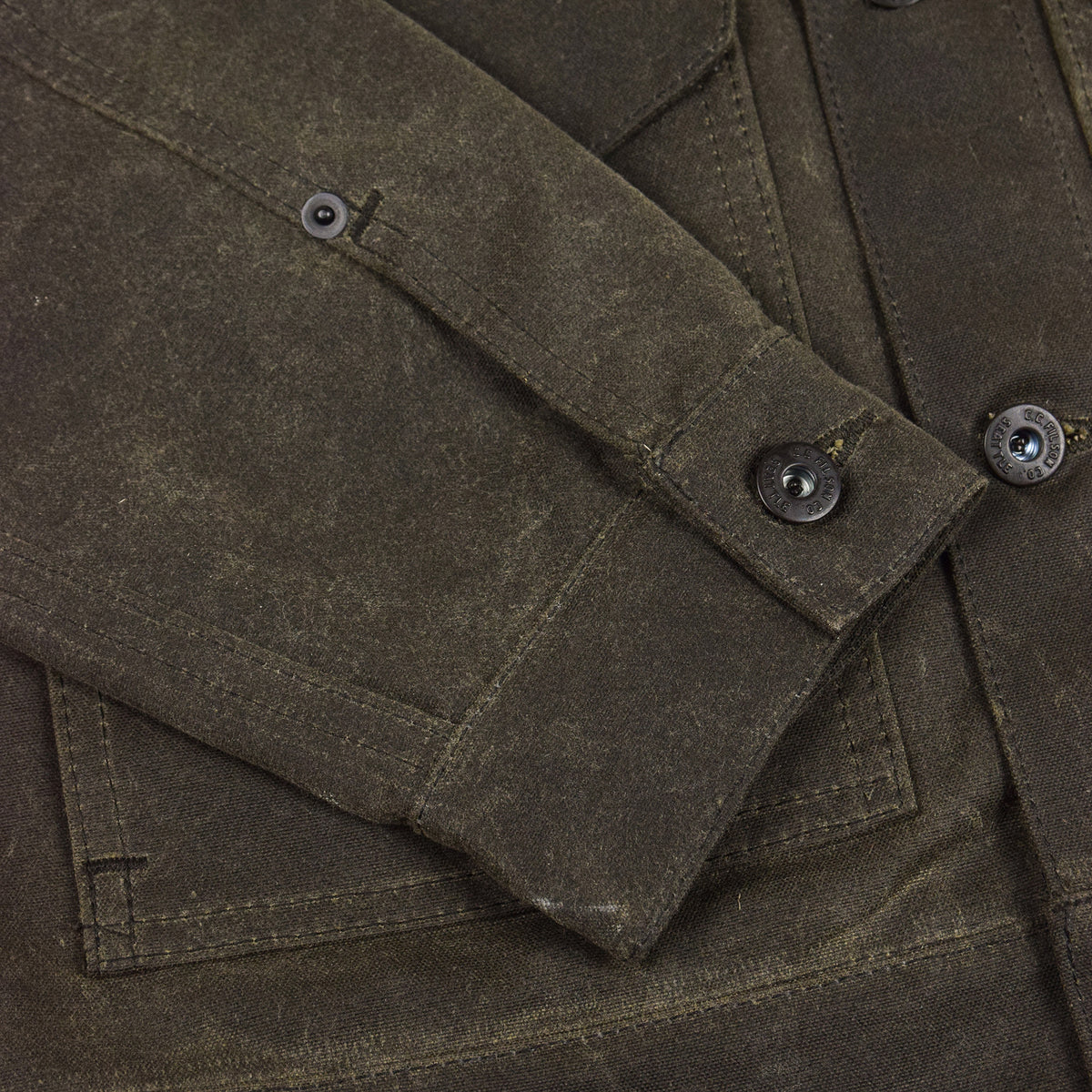 Filson Short Lined Tin Cloth Cruiser Jacket Brown Cuff