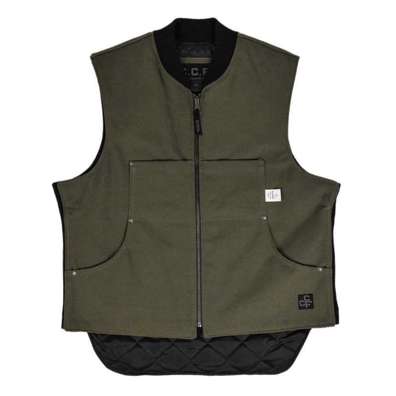 Filson CCF Work Vest Duck Canvas Cannonball Green Front