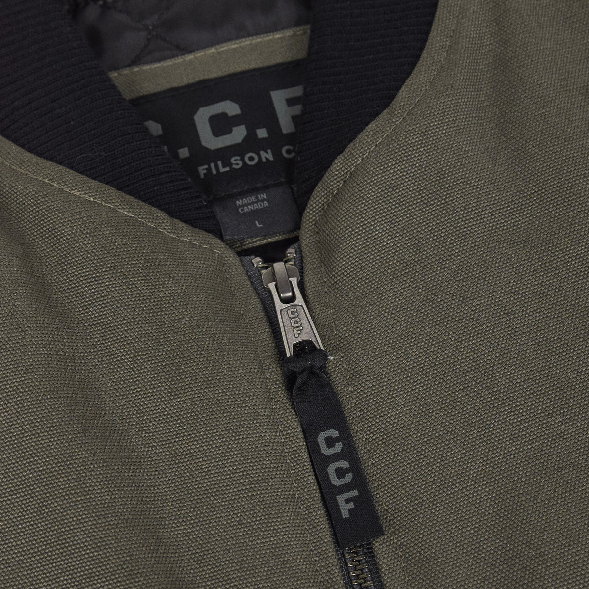 Filson CCF Work Vest Duck Canvas Cannonball Green Collar