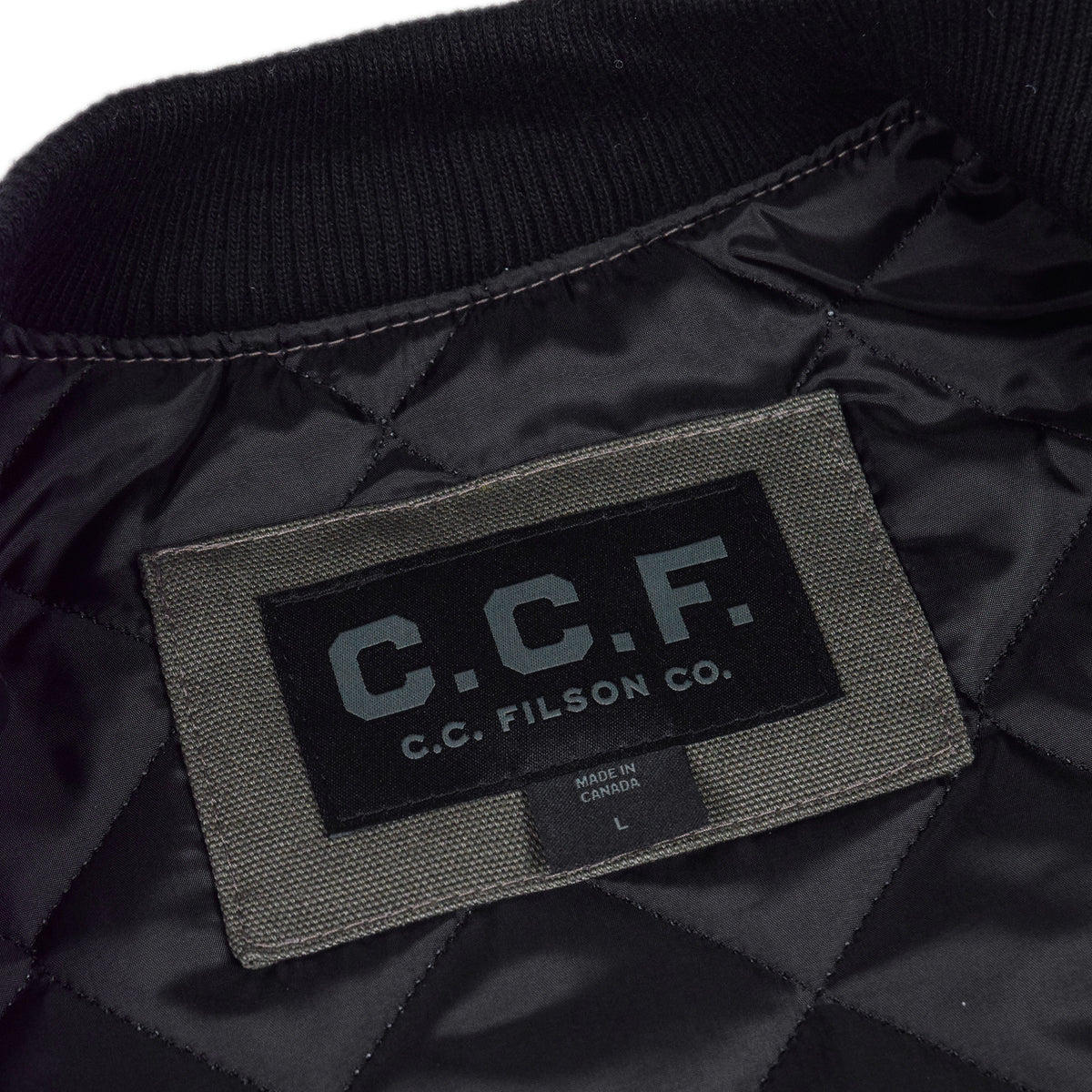 Filson CCF Work Vest Duck Canvas Cannonball Green Badge