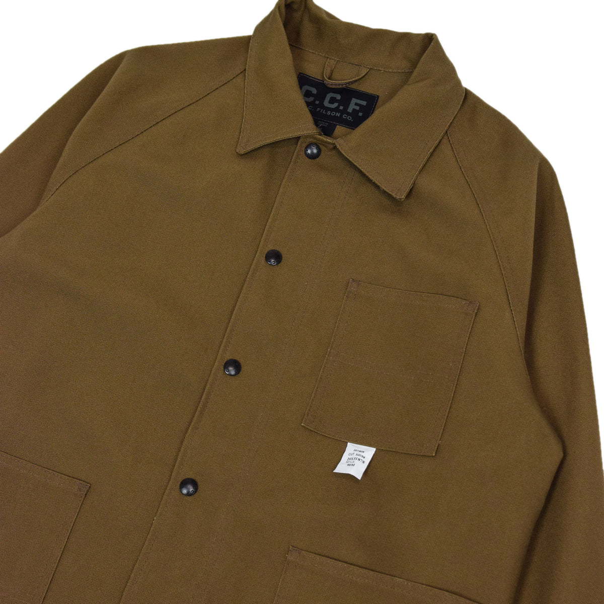 Filson CCF Duck Canvas Chore Coat Sepia chest