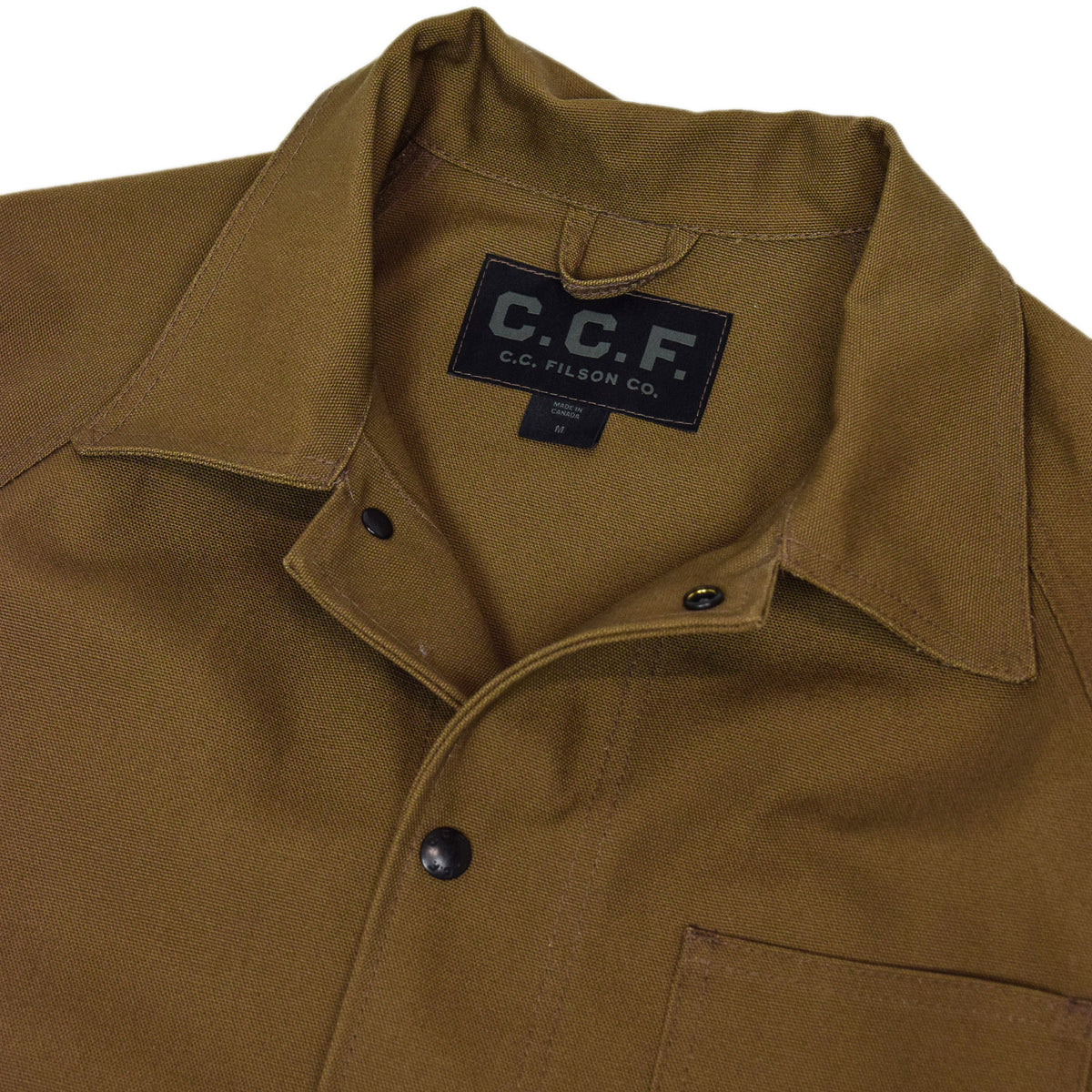 Filson CCF Duck Canvas Chore Coat Sepia collar
