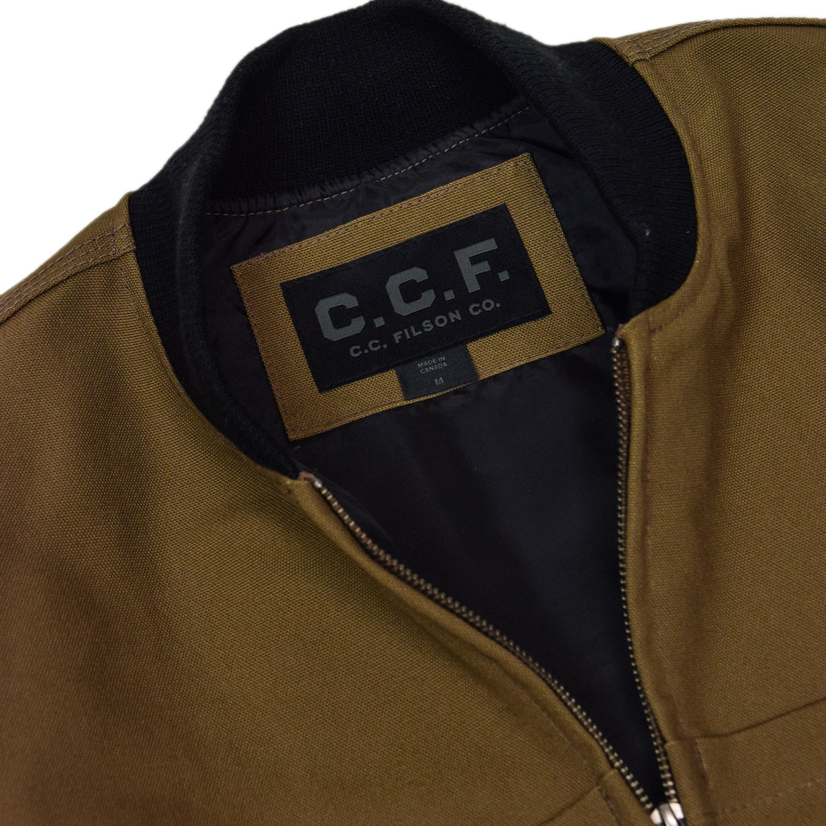 Filson CCF Duck Canvas Bomber Jacket Sepia COLLAR