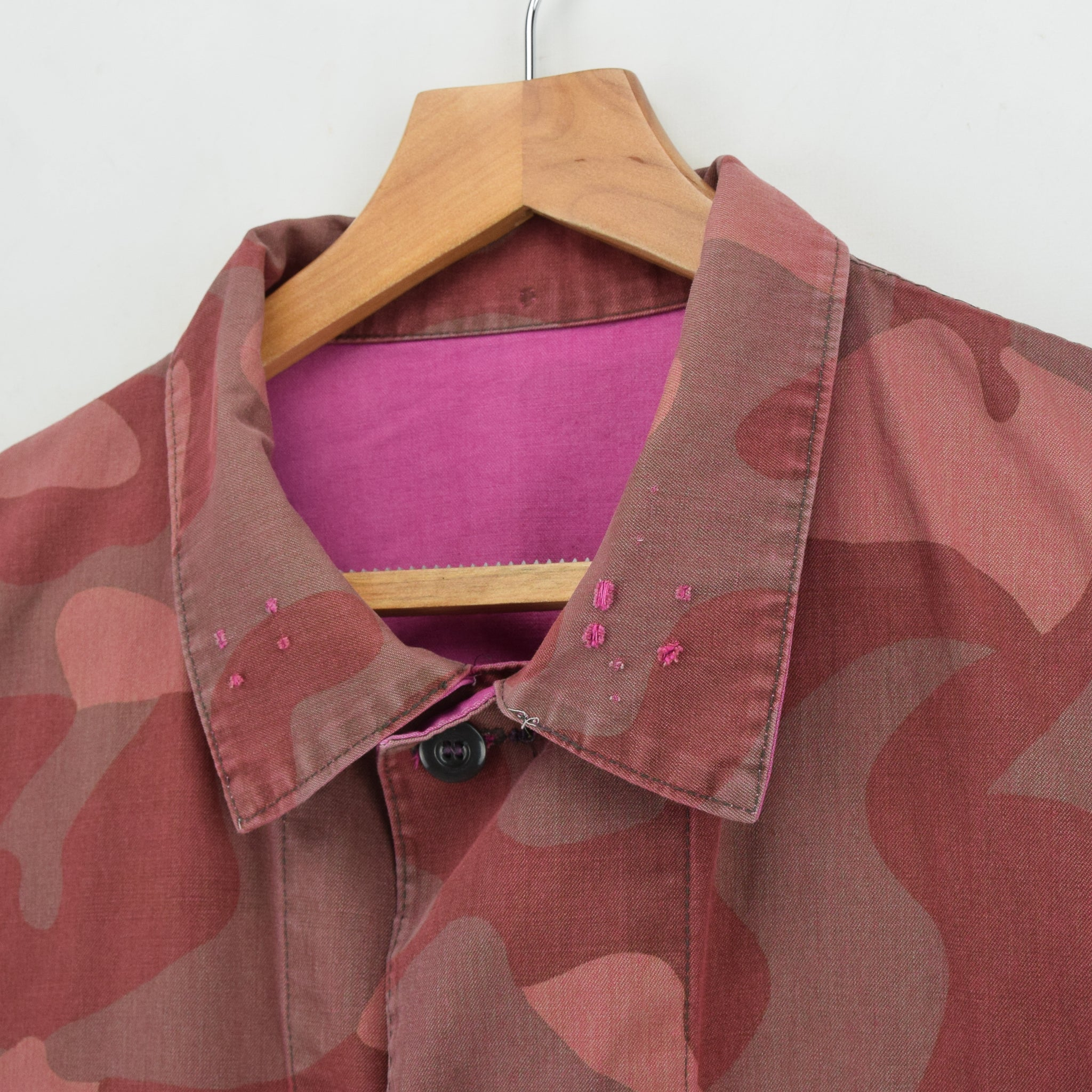 Vintage 70s Military Finnish Army Pink Overdyed Camo Mountain Field Jacket XL collar