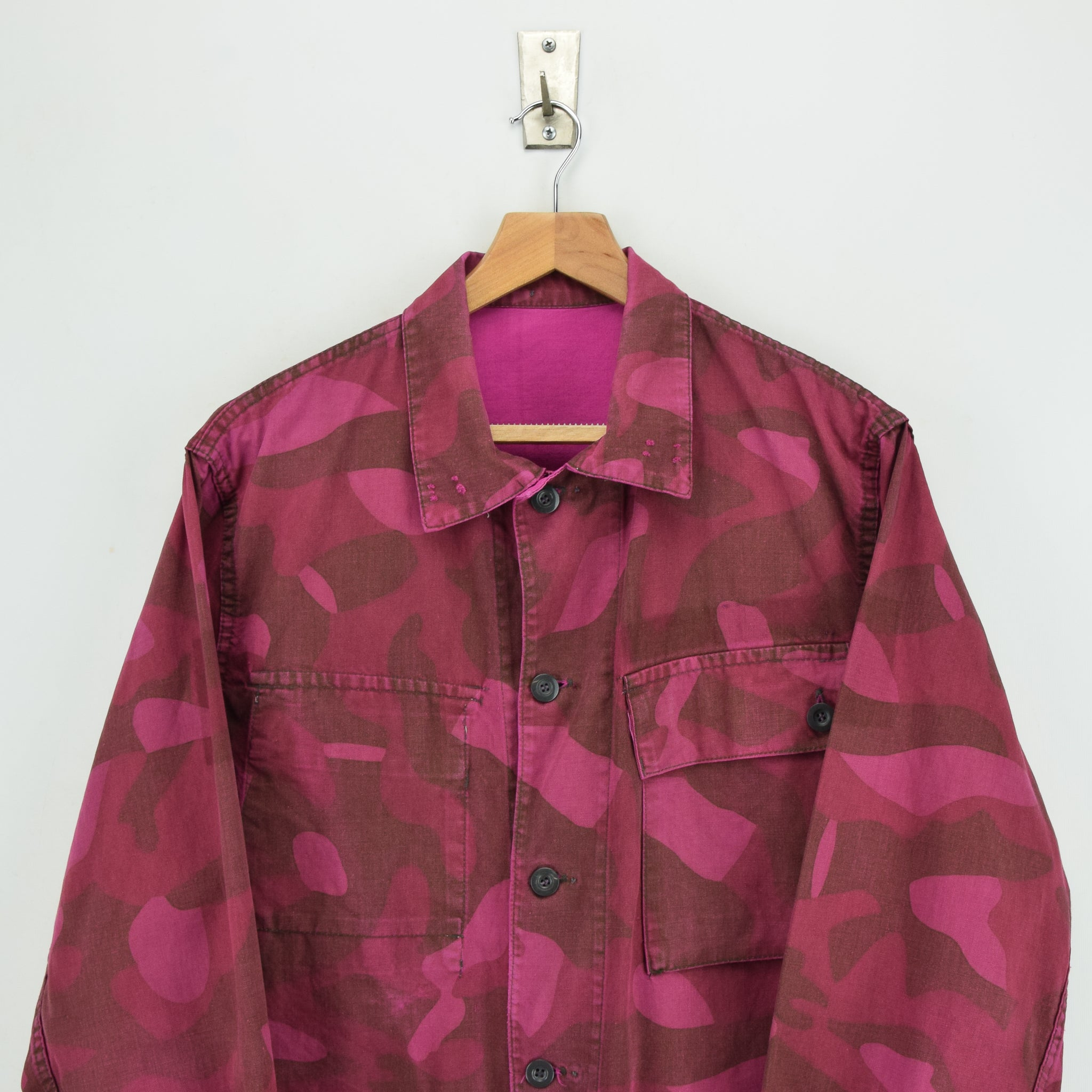 Vintage 70s Military Finnish Army Pink Overdyed Camo Mountain Field Jacket M chest