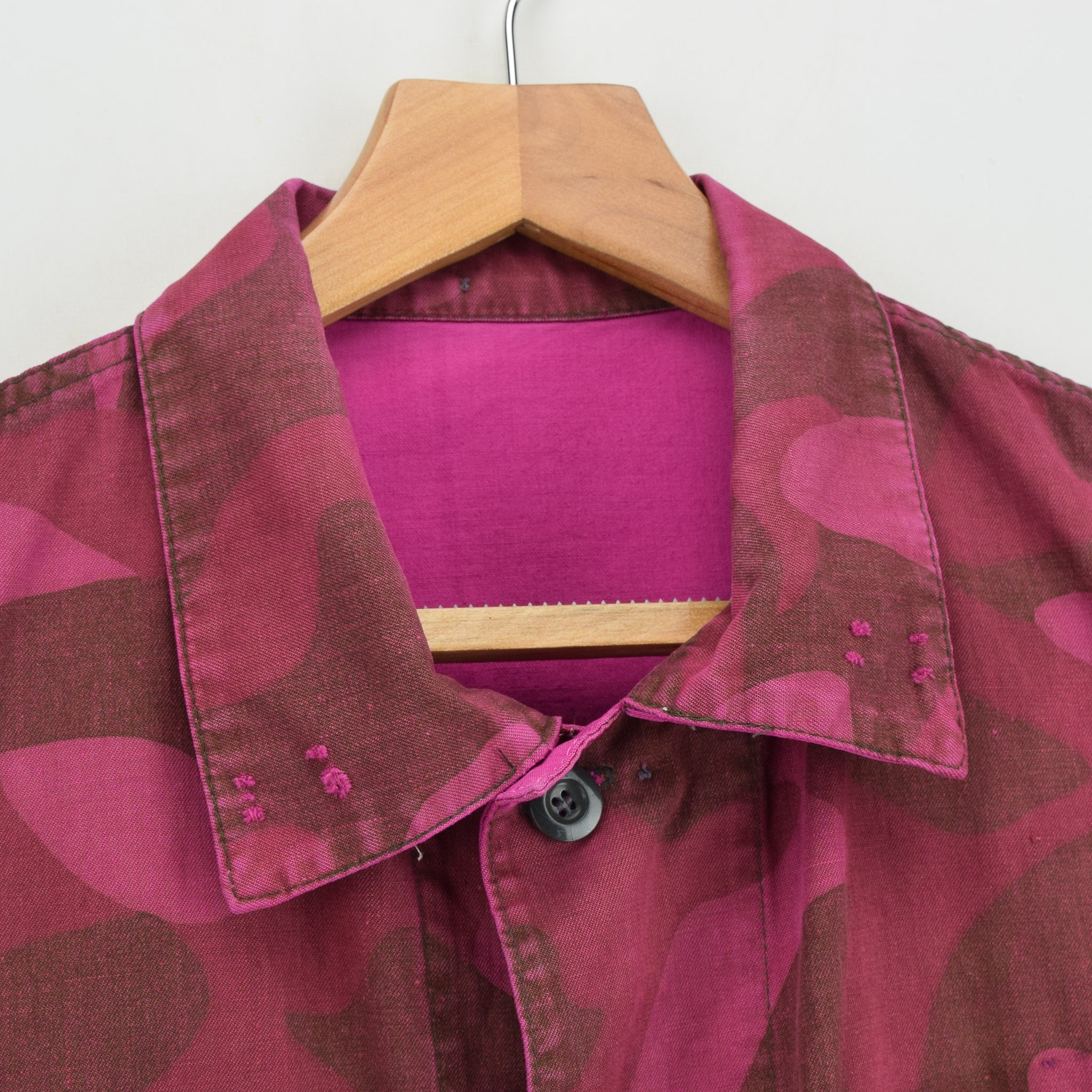 Vintage 70s Military Finnish Army Pink Overdyed Camo Mountain Field Jacket M collar