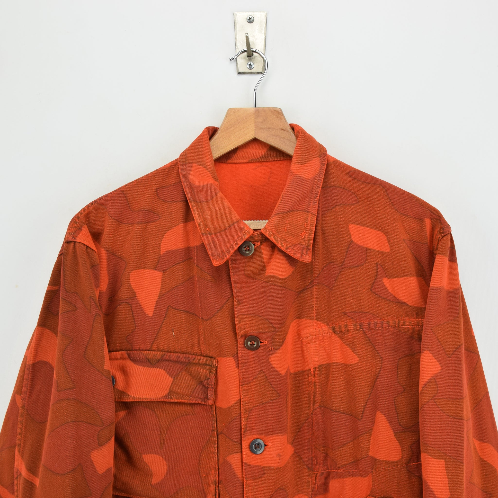 Vintage 60s Military Finnish Army Orange Overdyed Camo Mountain Field Jacket M chest
