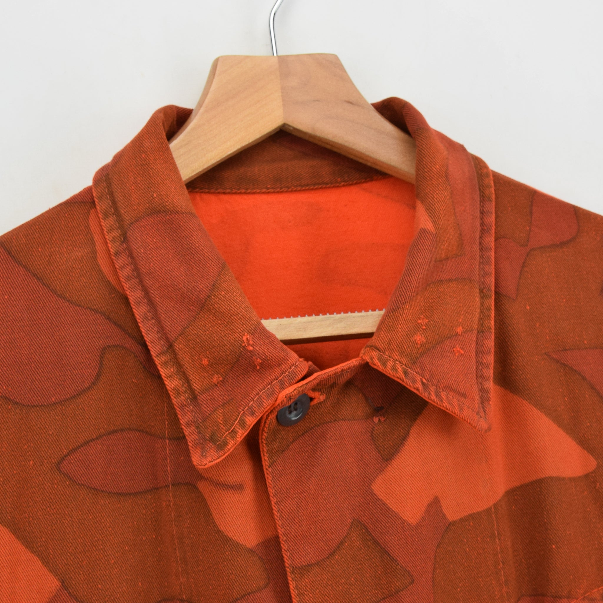 Vintage 60s Military Finnish Army Orange Overdyed Camo Mountain Field Jacket L collar