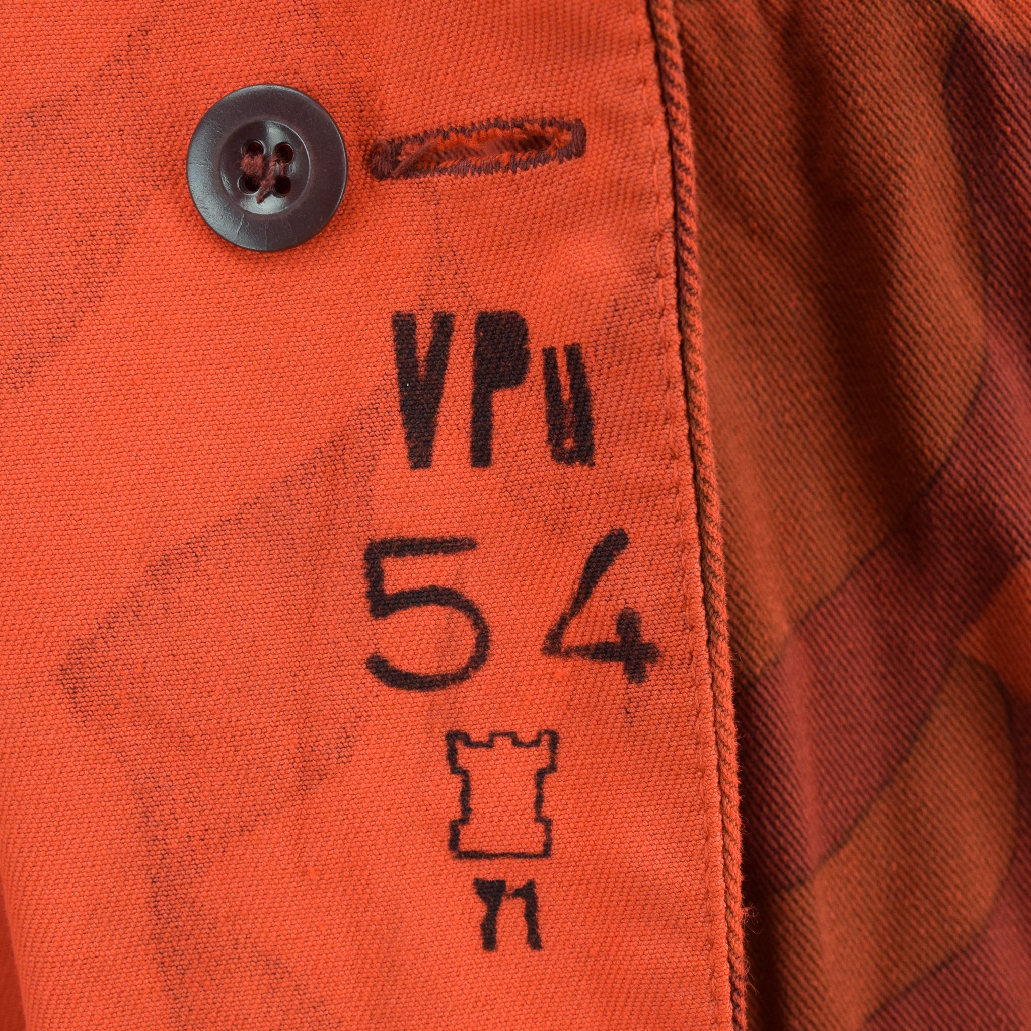 Vintage 70s Military Finnish Army Orange Overdyed Camo Mountain Field Jacket XL internal print