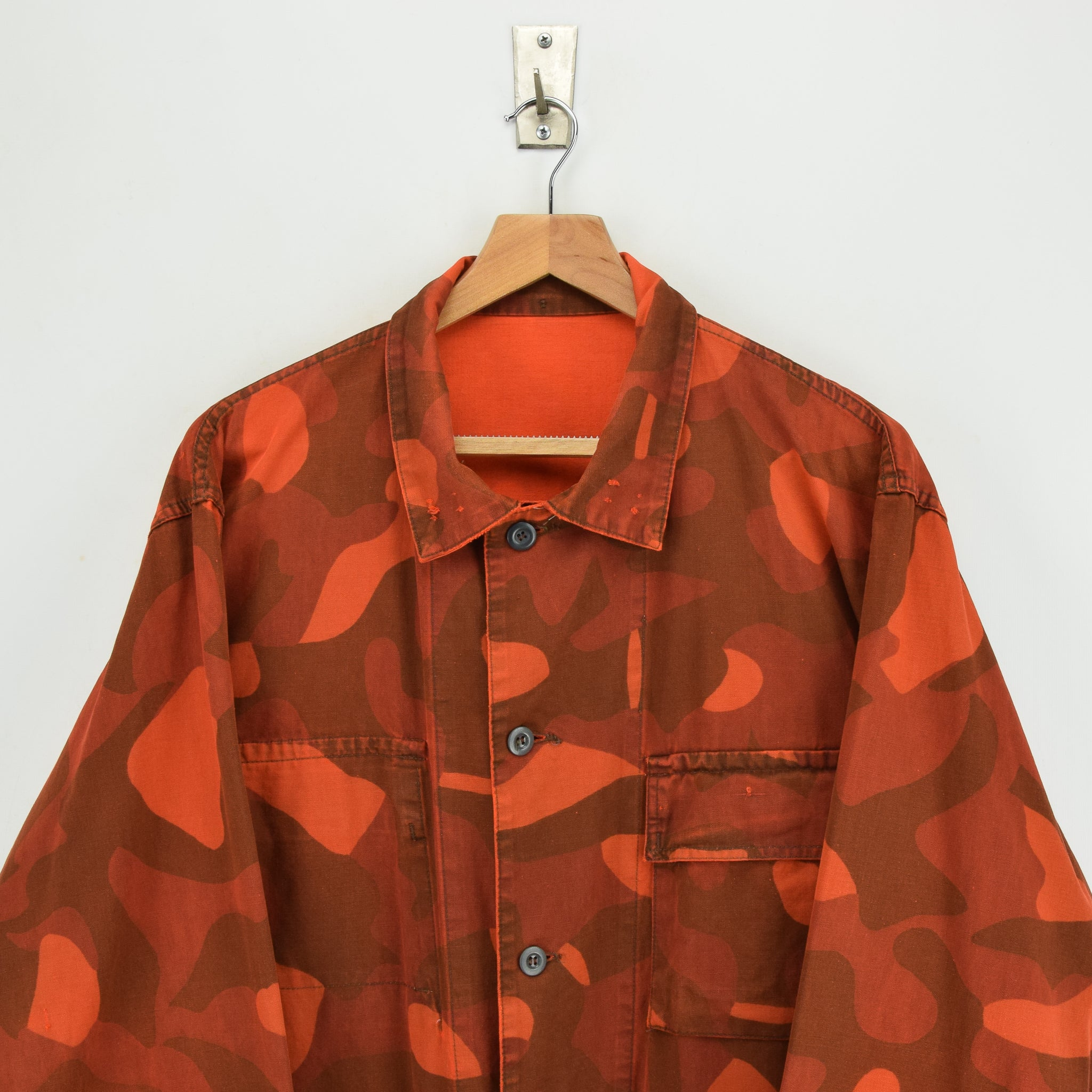 Vintage 80s Military Finnish Army Orange Overdyed Camo Mountain Field Jacket XL chest