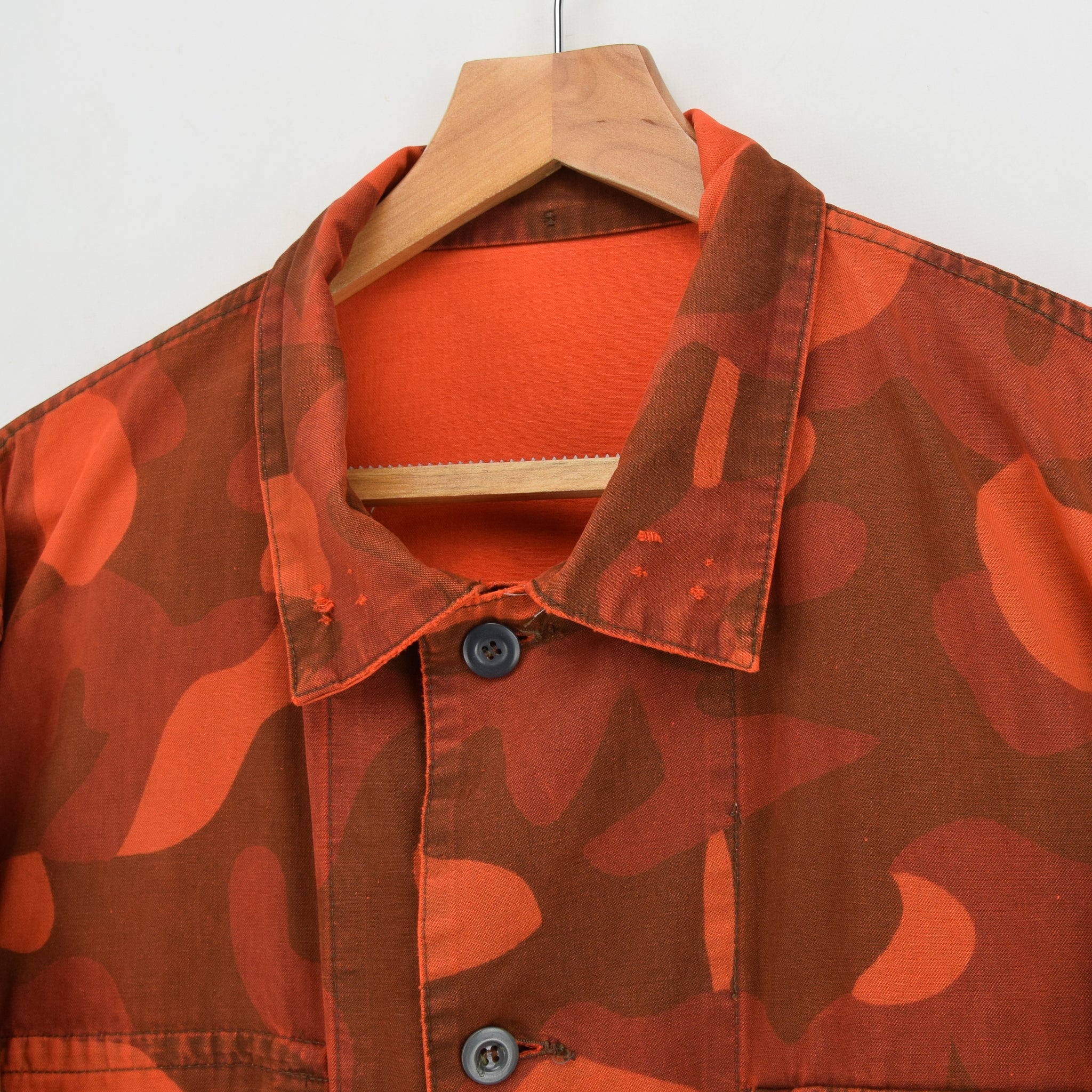 Vintage 80s Military Finnish Army Orange Overdyed Camo Mountain Field Jacket XL collar