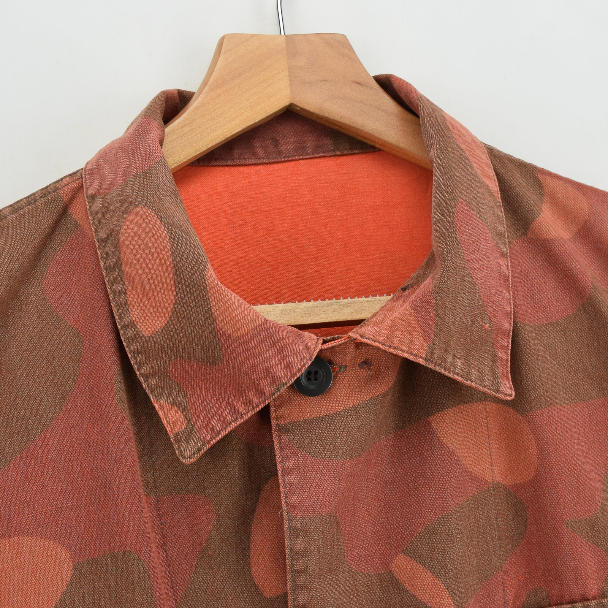 Vintage 80s Military Finnish Army Orange Overdyed Camo Mountain Field Jacket L collar