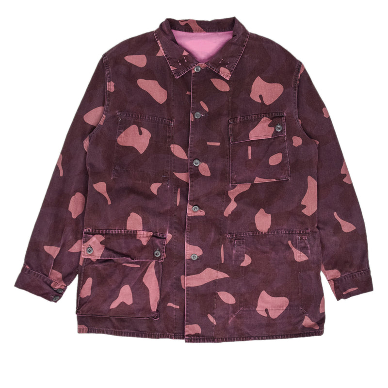 Vintage 80s Military Finnish Army Pink Overdyed Camo Mountain Field Jacket XL front