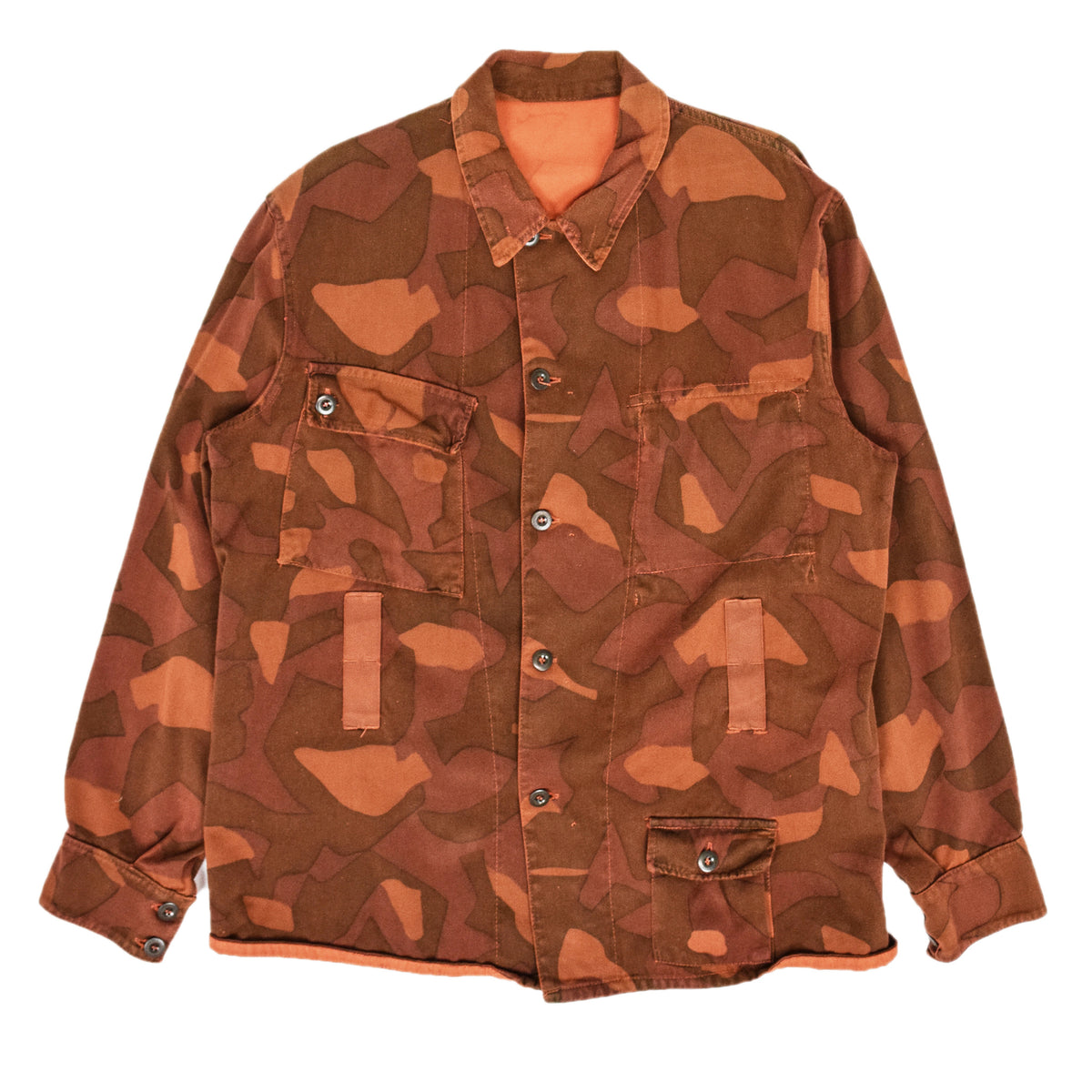 Vintage 60s Military Finnish Army Orange Overdyed Camo Mountain Jacket L / XL FRONT