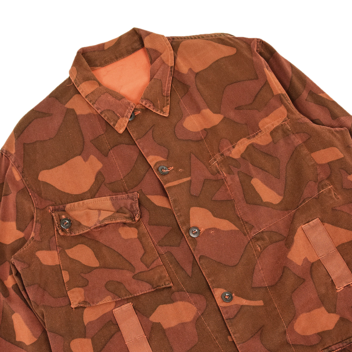 Vintage 60s Military Finnish Army Orange Overdyed Camo Mountain Jacket L / XL CHEST