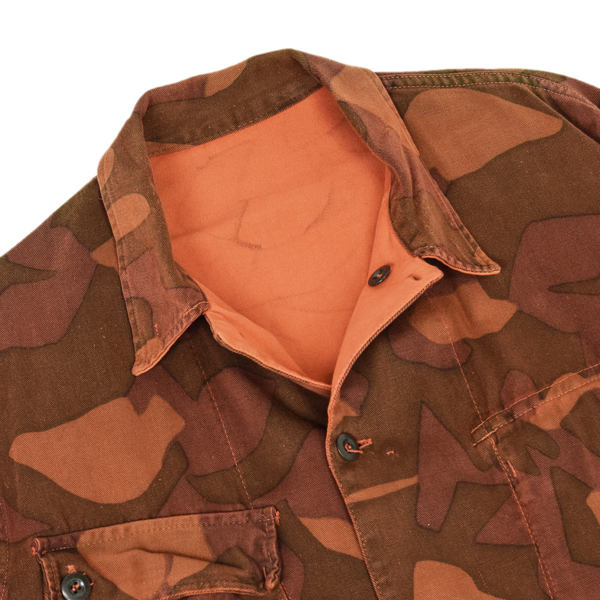 Vintage 60s Military Finnish Army Orange Overdyed Camo Mountain Jacket L / XL COLLAR
