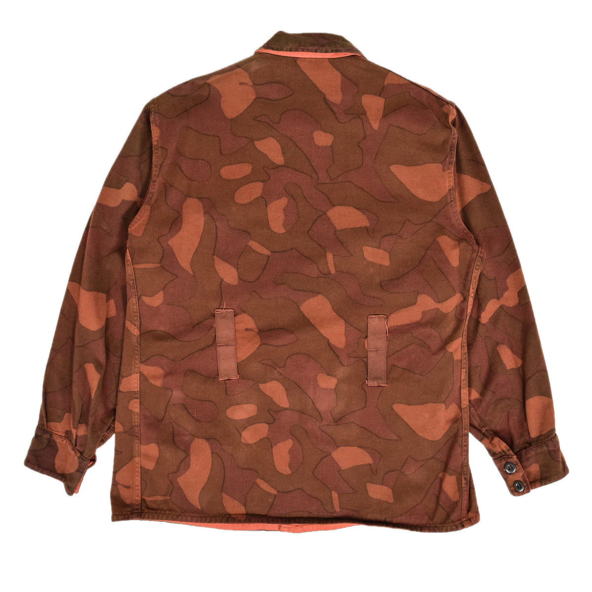 Vintage 60s Military Finnish Army Orange Overdyed Camo Mountain Jacket L / XL back